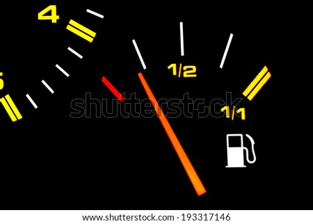 Automotive fuel gauge in the tank. - stock photo