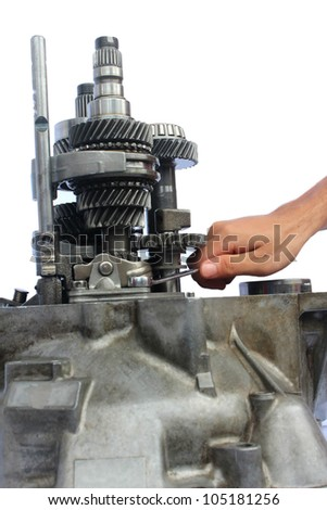 automotive gearbox repairing on isolated background