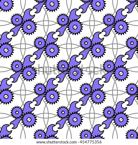 Automotive seamless pattern with service icon. Background with a blue wrench and gears. Rasterized version - stock photo