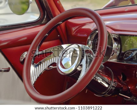 Automotive: Steering wheel from a car show.