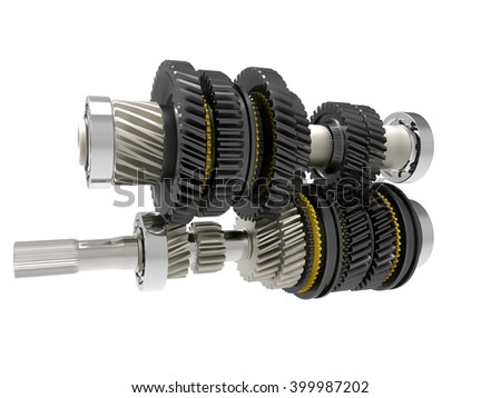 Automotive transmission gearbox. 3D image.