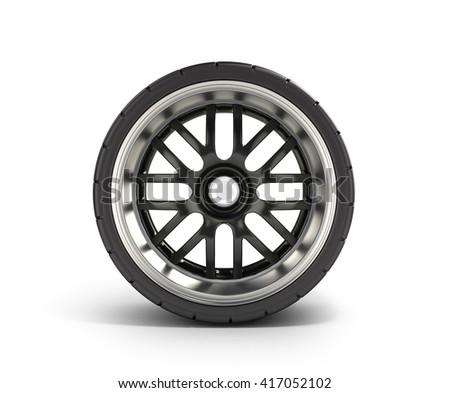 automotive wheel isolated on white 3d render - stock photo