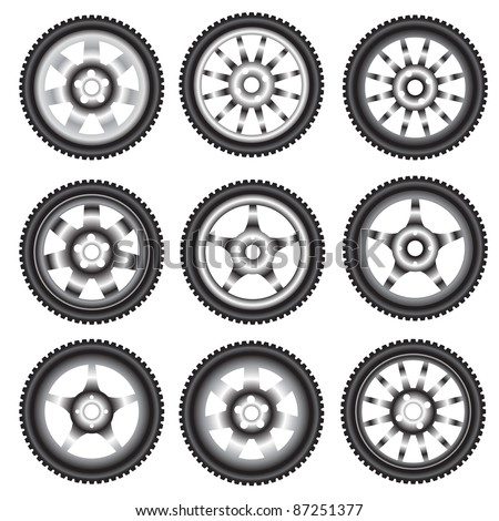 automotive wheel with alloy wheels - stock photo