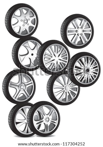 automotive wheel with alloy wheels and low profile tires - stock photo