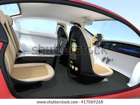 autonomous car interior concept backrest equip stock illustration 417069268 shutterstock. Black Bedroom Furniture Sets. Home Design Ideas