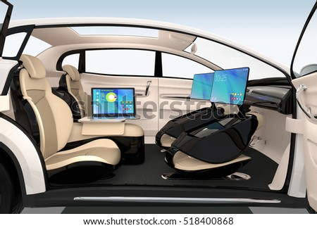 autonomous car interior design concept new ilustraci n de stock518400868 shutterstock. Black Bedroom Furniture Sets. Home Design Ideas