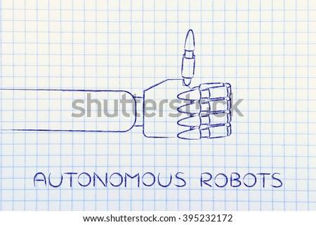 autonomous robots: robotic hands making thumbs up gesture - stock photo