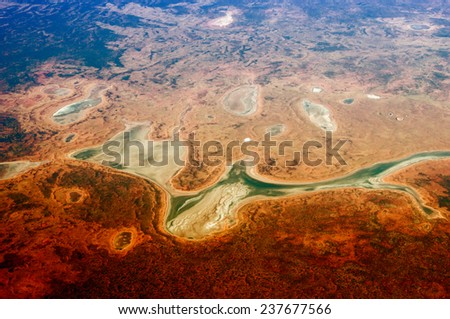 Autralian Outback. Aerial view of desert area. - stock photo