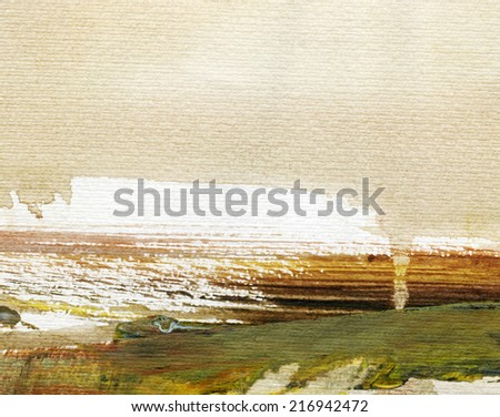 AUTUMN ABSTRACT LANDSCAPE WITH BRIGHT OCHER SKY - stock photo