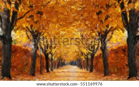 Autumn alley.  Oil painting effect