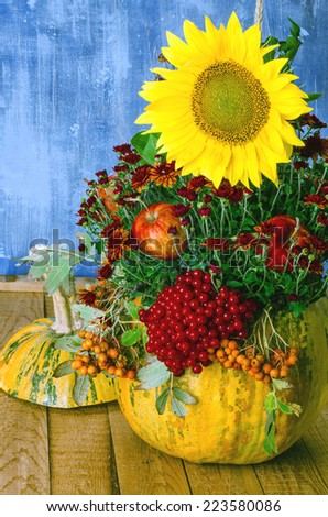 autumn arrangement in a pumpkin - stock photo
