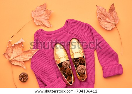 Autumn Arrives. Fall Fashion Woman Clothes Set. Design.Trendy Pink Knit Jumper. Fashion Stylish Glamour Shoes. Yellow Leaves. Retro