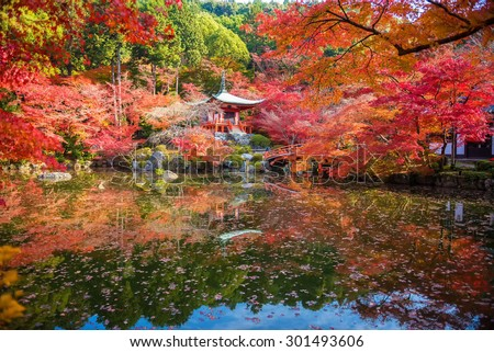Autumn at daigoji temple with colorful of maple trees and leaves in a pond around , most beautiful famous place in autumn season at Kyoto ,Japan - stock photo