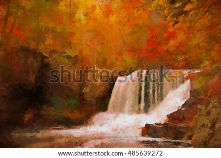 Autumn at Factory Falls in the Poconos of Pennsylvania turned into a colorful scenic painting with tones of orange and red. Factory Falls is located in the George W Childs State Park.