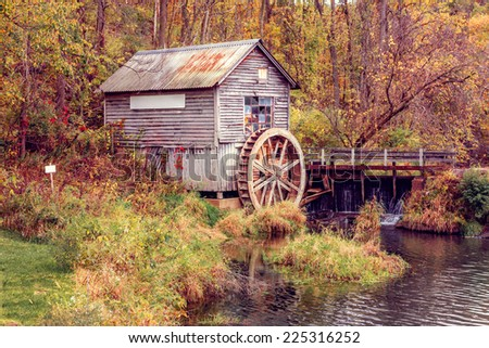 Autumn at the old Mill, Wisconsin - stock photo