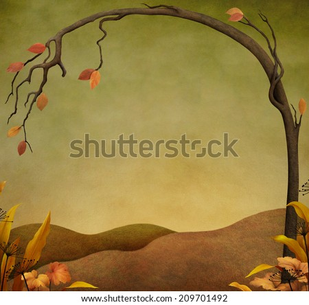 Autumn background or illustration with tree and grass - stock photo