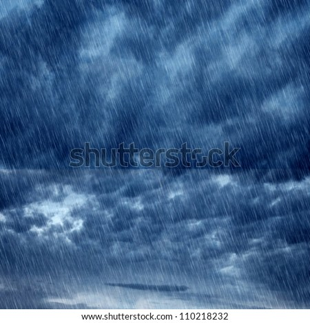 autumn background texture with clouds and rain - stock photo