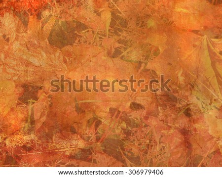 Autumn background with abstract leaves - vintage style - stock photo