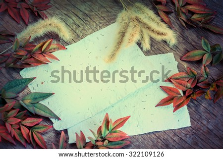 Autumn background with colorful yellow orange leaves of magnolia on wooden background. Fall theme, Autumn concept background with yellow fall leaves and copy space. - stock photo