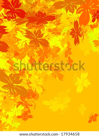 Autumn background with leaves falling down. Warm colours, from yellow to red. Space for copy.