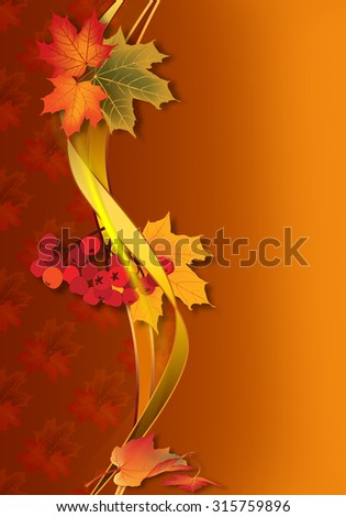 Autumn background with maple leaves. - stock photo