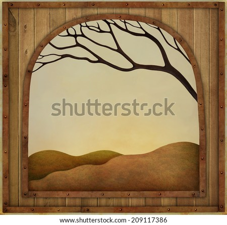 Autumn background with  wooden textured vintage frame - stock photo