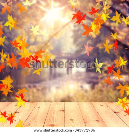 autumn background. wooden table and autumn landscape