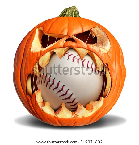 Autumn baseball concept as a pumpkin jack o lantern biting into a leather softball as a symbol for halloween sports and fall sporting events on a white background. - stock photo