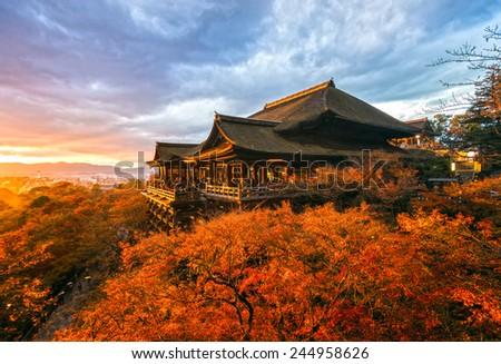 Autumn Color at Kiyomizu-dera Temple in Kyoto, Japan - stock photo