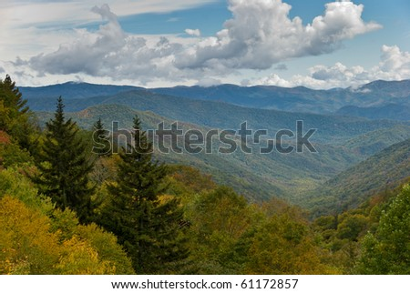 Autumn colorful foliage of trees on the slopes in Smoky Mountains National Park - stock photo