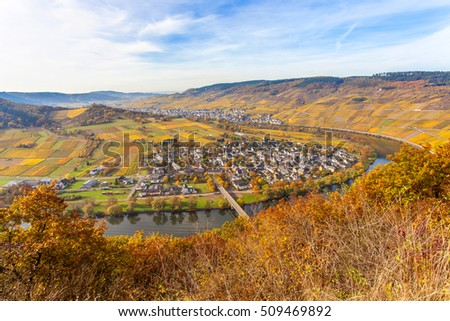 Autumn Colorful Moselle and Vineyards Landscape
