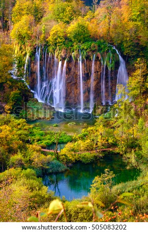 Autumn colors and waterfalls of Plitvice National Park in Croatia