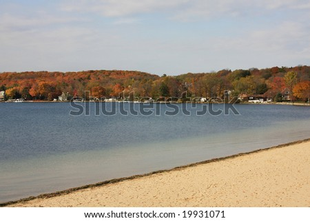 Autumn colors at Lake Geneva, Wisconsin - stock photo