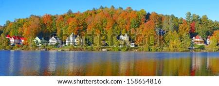 Autumn Colors at Saranac Lake, Lake Placid Region in the Adirondacks, New York - stock photo