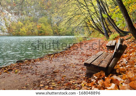 Autumn colors in Plitvice National Park, Croatia, Europe - stock photo