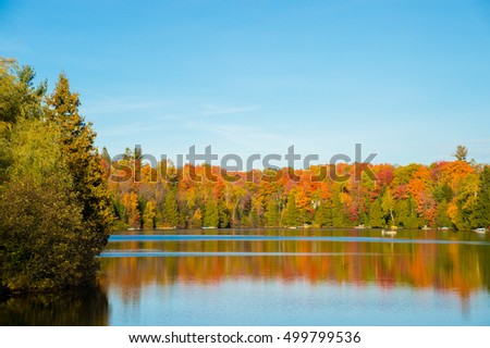 Autumn colors in Quebec, Canada (Lac Saint-Amour in Sainte-Anne-des-Lacs)