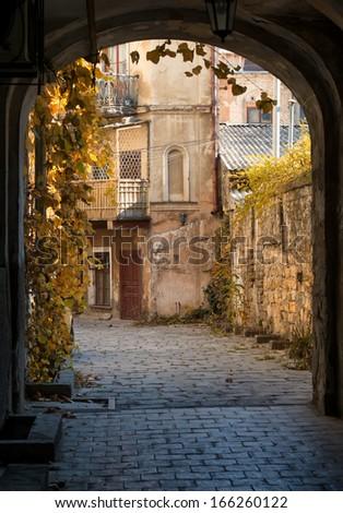 Autumn colors of old courtyard, Odessa, Ukraine - stock photo