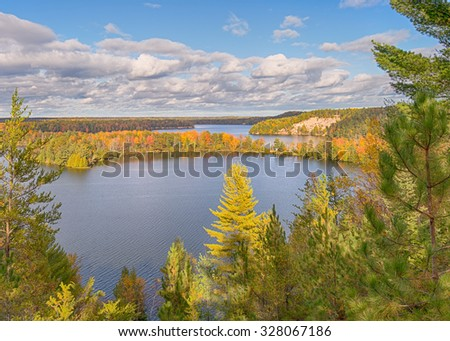 Autumn colors on the Highbanks Trail, AuSable Scenic Byway,  in the Huron National Forest, near Oscoda, Michigan