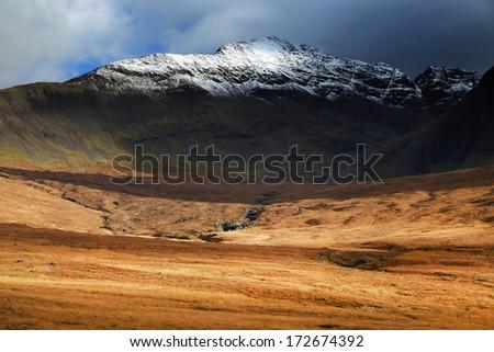 Autumn colours in Cuilin Mountains, Island of Skye, Scotland, Europe - stock photo