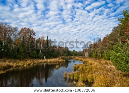 Autumn comes to the Moon River basin - stock photo