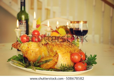 Autumn concept of traditional food. Golden rustic and stuffed roast turkey. Thanksgiving Day