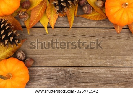 Autumn corner border of pumpkins, leaves and pine cones against a rustic wood background