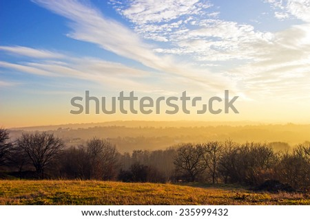 Autumn country landscape in Europe - stock photo