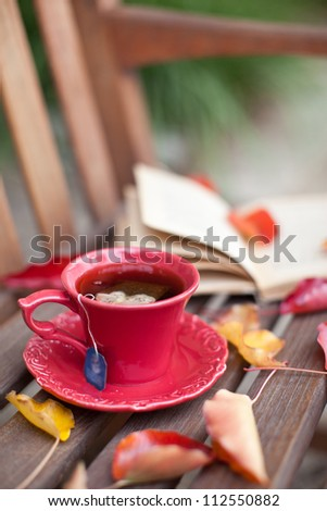 Autumn cup of tea with a book and leaves on a bench - stock photo