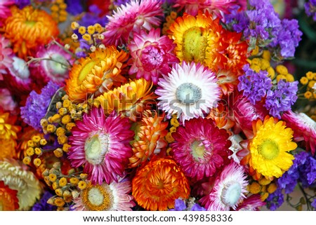 Autumn decoration of mix of colorful flowers, natural background - stock photo