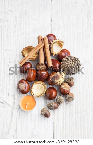 Autumn Decoration with Chestnuts, Cinnamon Sticks , Acorns, Pine Cone and Candle on White Painted Wood - stock photo