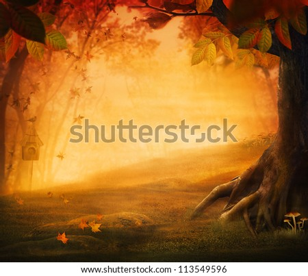 Autumn design - Forest in fall. Autumn valley with mushrooms Falling leaves and bird house in he background.  Space for your autumnal text. Fall background concept with copyspace. - stock photo