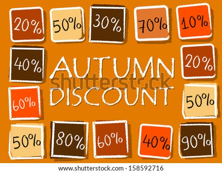 autumn discount and different percentages - retro style orange label with text and squares, business seasonal concept - stock photo
