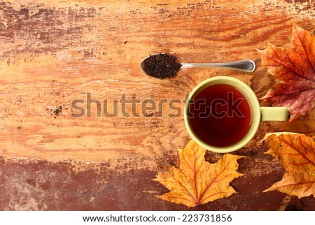 Autumn (fall) cup of tea and colorful leaves - stock photo