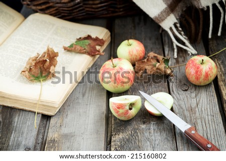 Autumn (fall) still life with apples, book, warming blanket and colorful leaves over rustic wooden background. Selective focus, retro toning - stock photo